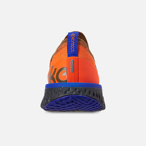 Back view of Men's Nike Epic React Flyknit MWB Running Shoes in Golden Beige/Racer Blue/Total Orange