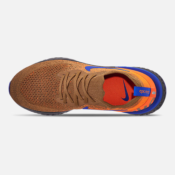 Top view of Men's Nike Epic React Flyknit MWB Running Shoes in Golden Beige/Racer Blue/Total Orange