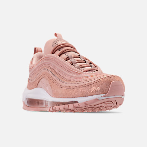 Three Quarter view of Women's Nike Air Max 97 Special Edition Casual Shoes in Particle Beige/Summit White/Metallic Bronze