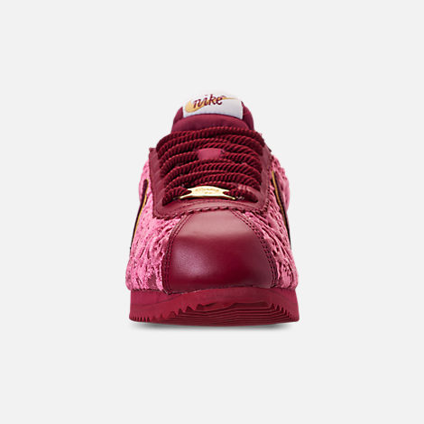 Front view of Women's Nike Cortez Classic SE Casual Shoes in Red Crush/Team Red/Metallic Gold