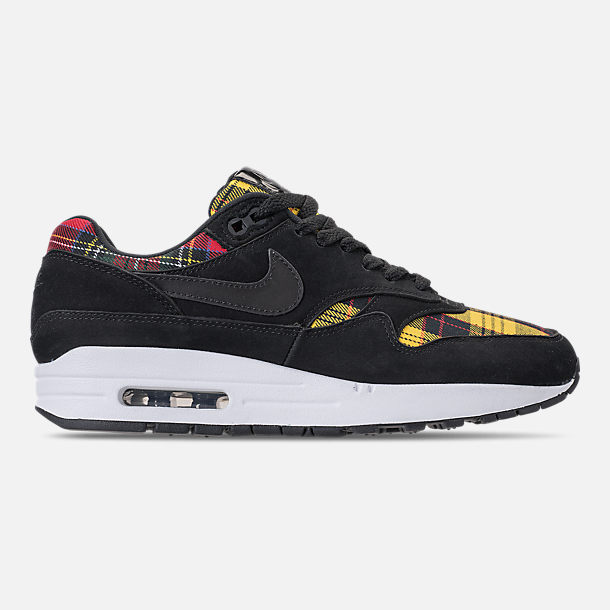 Right view of Women's Nike Air Max 1 SE Casual Shoes in Black/University Red