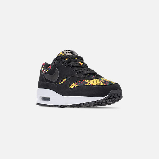 Three Quarter view of Women's Nike Air Max 1 SE Casual Shoes in Black/University Red/Amarillo