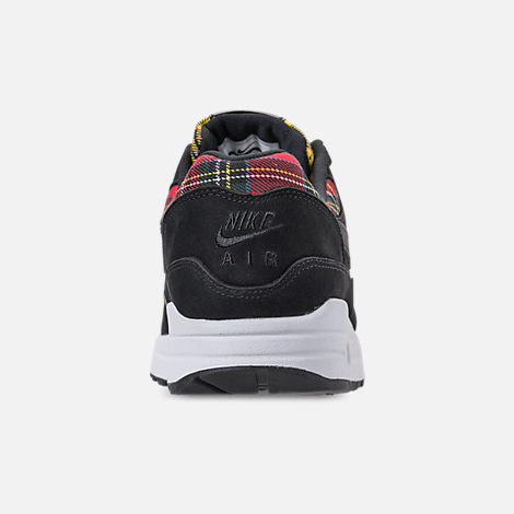 Back view of Women's Nike Air Max 1 SE Casual Shoes in Black/University Red/Amarillo