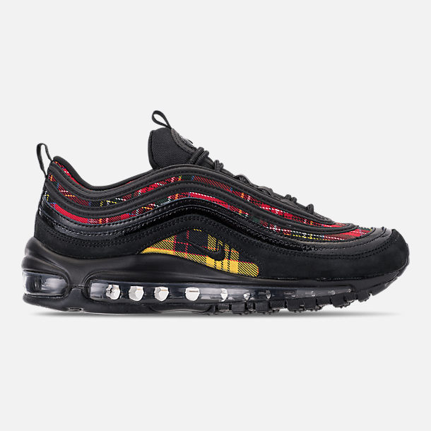 Right view of Women's Nike Air Max 97 SE Tartan Casual Shoes in Black/University Red/Amarillo