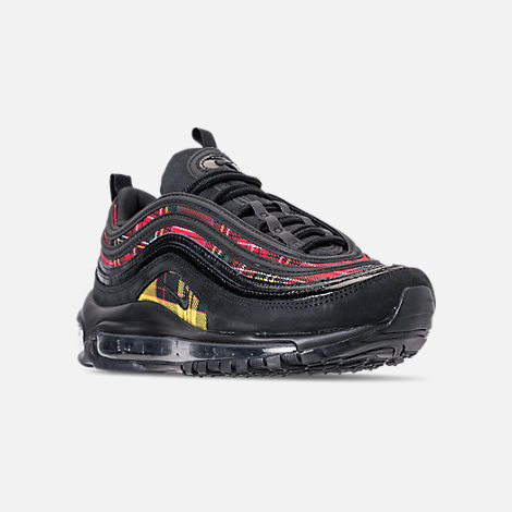 Three Quarter view of Women's Nike Air Max 97 SE Tartan Casual Shoes in Black/University Red/Amarillo