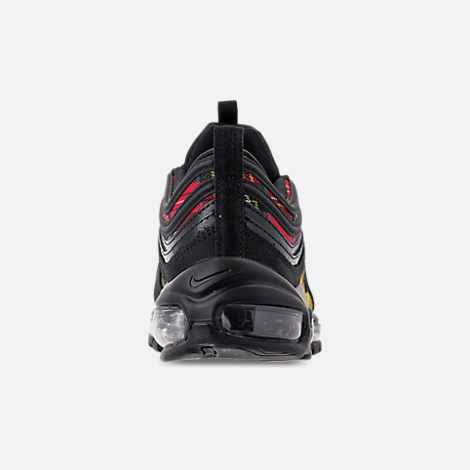 Back view of Women's Nike Air Max 97 SE Tartan Casual Shoes in Black/University Red/Amarillo