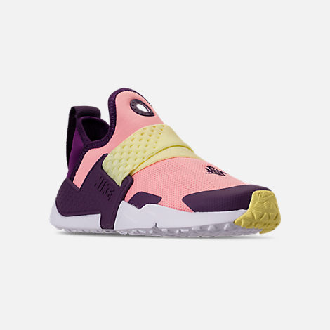 Three Quarter view of Girls' Big Kids' Nike Huarache Extreme Casual Shoes in Pink/Citron/Night Purple/Bright Grape