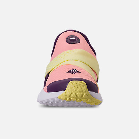 Front view of Girls' Big Kids' Nike Huarache Extreme Casual Shoes in Pink/Citron/Night Purple/Bright Grape