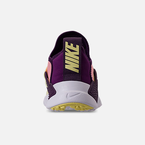 Back view of Girls' Grade School Nike Huarache Extreme Running Shoes in Pink/Citron/Night Purple/Bright Grape