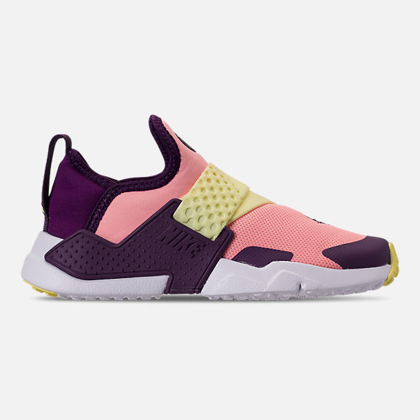 Right view of Girls' Little Kids' Nike Huarache Extreme Casual Shoes in Pink/Citron/Night Purple/Bright Grape
