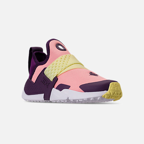 Three Quarter view of Girls' Little Kids' Nike Huarache Extreme Casual Shoes in Pink/Citron/Night Purple/Bright Grape