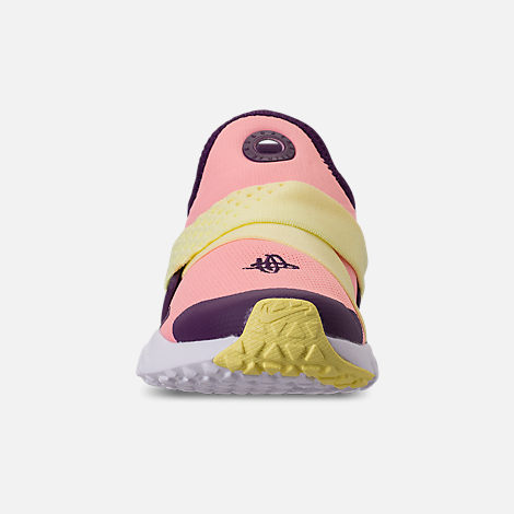 Front view of Girls' Little Kids' Nike Huarache Extreme Casual Shoes in Pink/Citron/Night Purple/Bright Grape