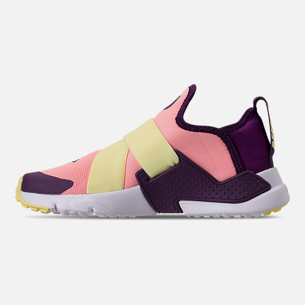 Left view of Girls' Little Kids' Nike Huarache Extreme Casual Shoes in Pink/Citron/Night Purple/Bright Grape