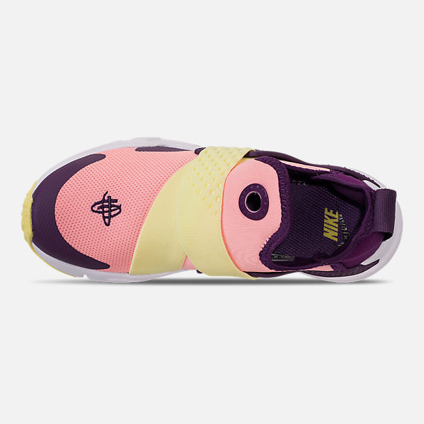 Top view of Girls' Little Kids' Nike Huarache Extreme Casual Shoes in Pink/Citron/Night Purple/Bright Grape