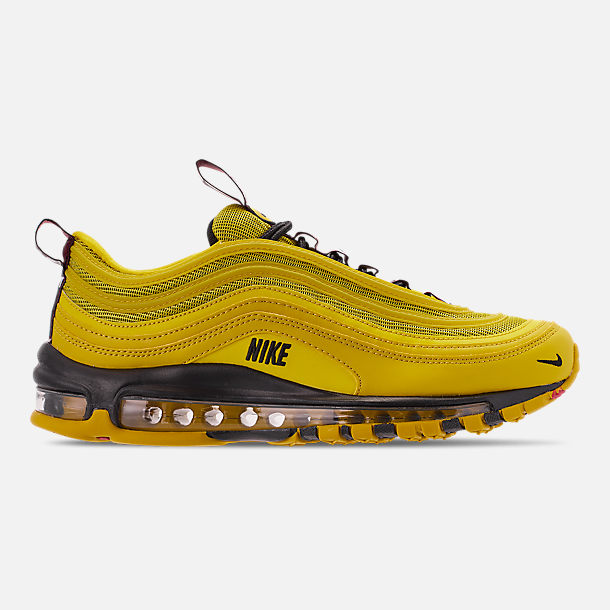 Right view of Men's Nike Air Max 97 Premium Casual Shoes in Bright Citron/Black/Black