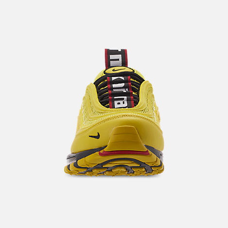 Front view of Men's Nike Air Max 97 Premium Casual Shoes in Bright Citron/Black/Black
