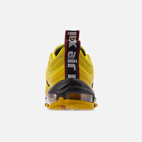Back view of Men's Nike Air Max 97 Premium Casual Shoes in Bright Citron/Black/Black