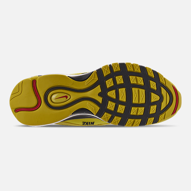 Bottom view of Men's Nike Air Max 97 Premium Casual Shoes in Bright Citron/Black/Black