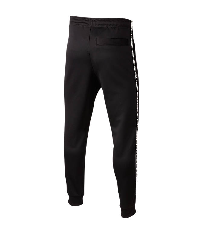 Front Three Quarter view of Boys' Nike Taped Jogger Pants in Black/White