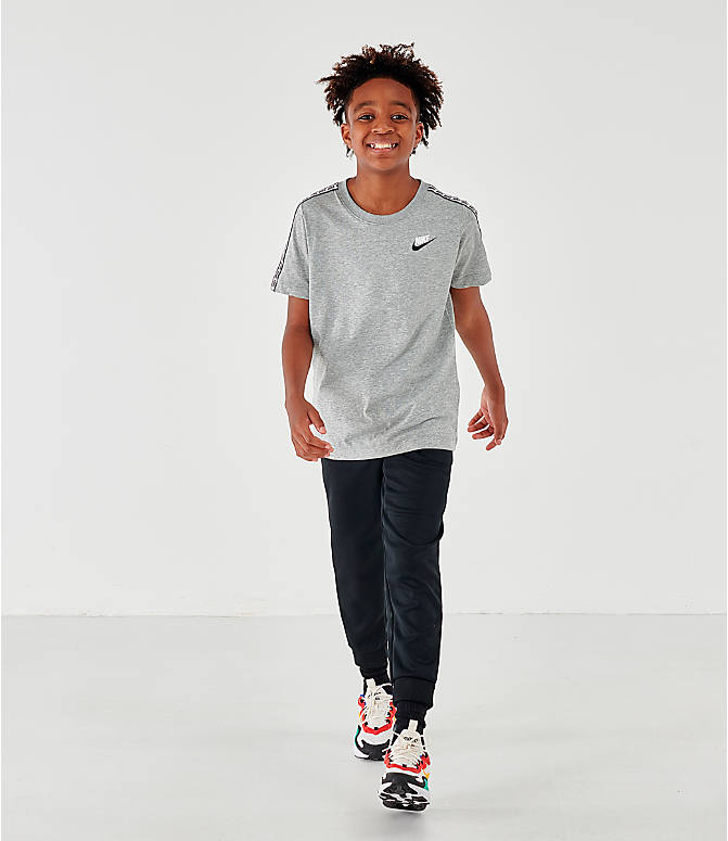 Front Three Quarter view of Boys' Nike Sportswear Taped T-Shirt in Dark Grey Heather/White