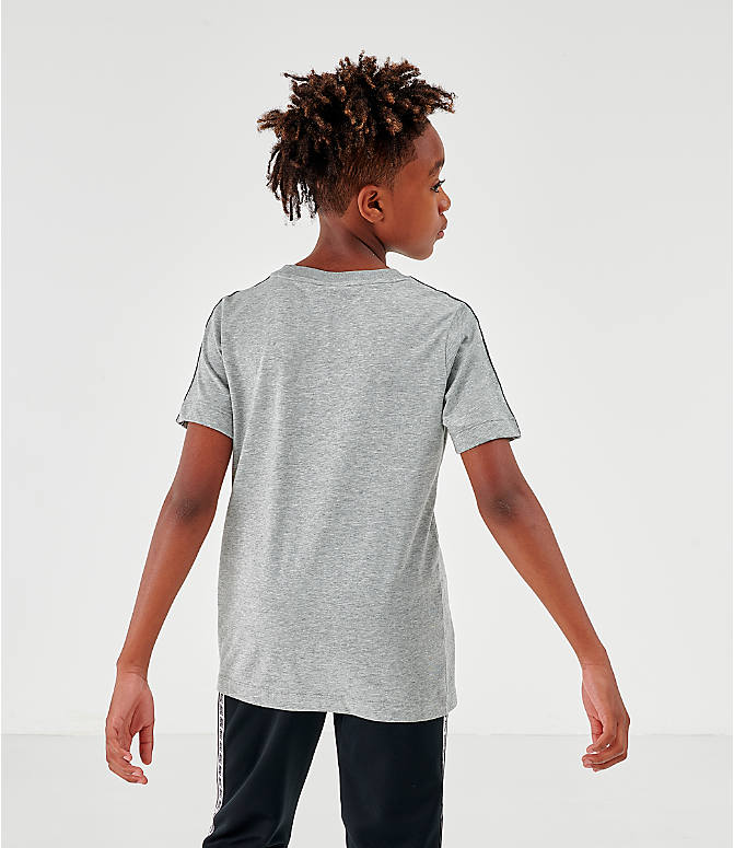 Back Left view of Boys' Nike Sportswear Taped T-Shirt in Dark Grey Heather/White