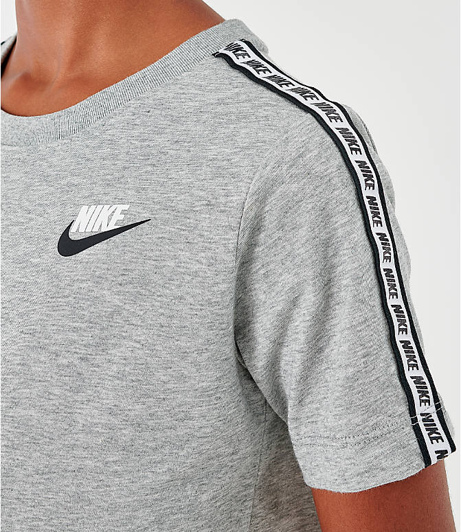 Back Right view of Boys' Nike Sportswear Taped T-Shirt in Dark Grey Heather/White