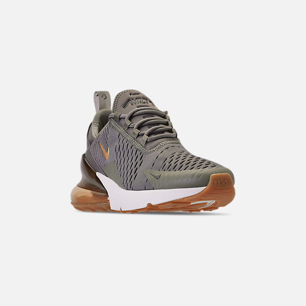 Three Quarter view of Women's Nike Air Max 270 Casual Shoes in Dark Stucco/Metallic Gold/Sail