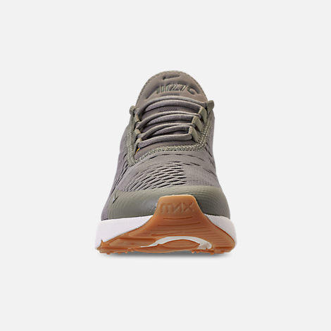 Front view of Women's Nike Air Max 270 Casual Shoes in Dark Stucco/Metallic Gold/Sail