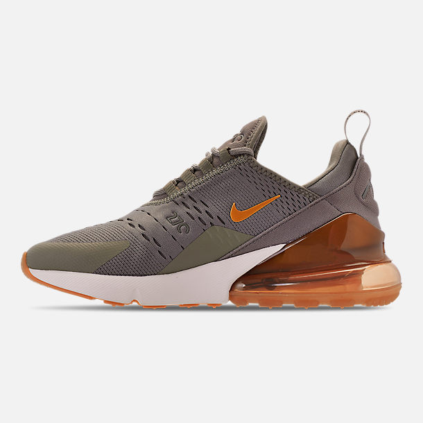 Left view of Women's Nike Air Max 270 Casual Shoes in Dark Stucco/Metallic Gold/Sail