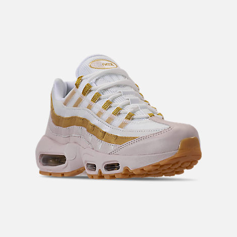 Three Quarter view of Women's Nike Air Max 95 Casual Shoes in Desert Sand/Metallic Gold/Summit White