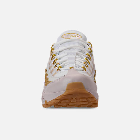 Front view of Women's Nike Air Max 95 Casual Shoes in Desert Sand/Metallic Gold/Summit White