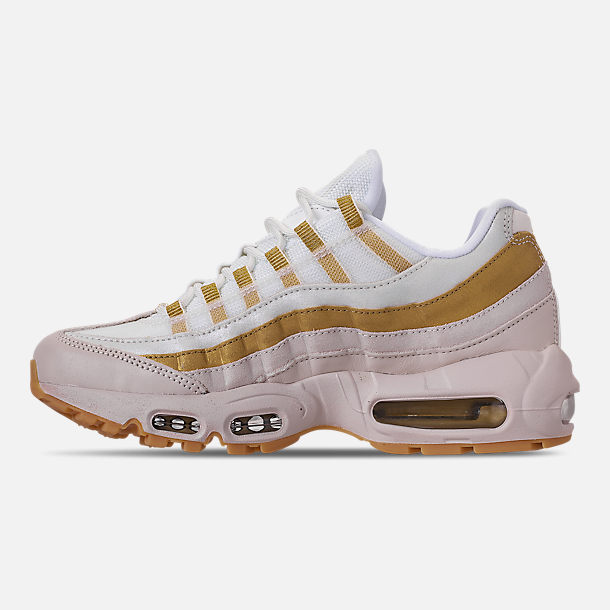 Left view of Women's Nike Air Max 95 Casual Shoes in Desert Sand/Metallic Gold/Summit White