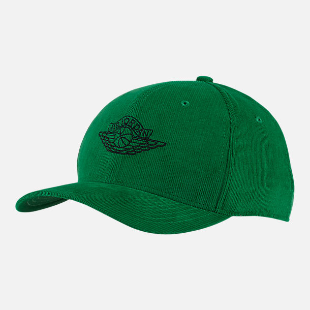 Front view of Jordan Classic99 Wings Adjustable Back Hat in Pine Green