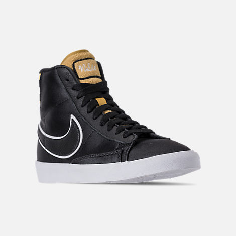 Three Quarter view of Women's Nike Blazer Mid Premium Casual Shoes in Black/Wheat Gold/White