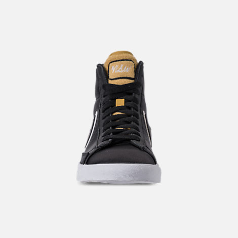 Front view of Women's Nike Blazer Mid Premium Casual Shoes in Black/Wheat Gold/White