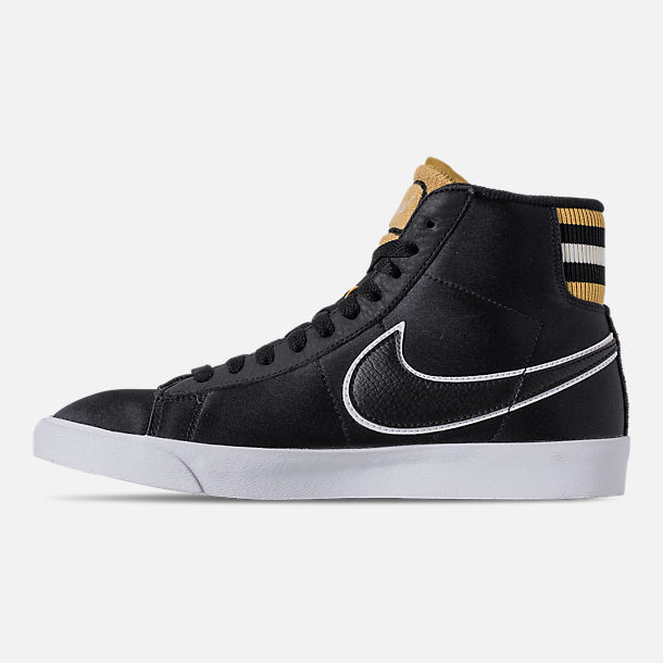 Left view of Women's Nike Blazer Mid Premium Casual Shoes in Black/Wheat Gold/White