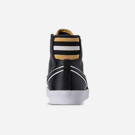 Back view of Women's Nike Blazer Mid Premium Casual Shoes in Black/Wheat Gold/White