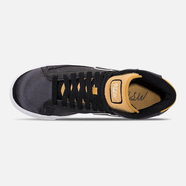 Top view of Women's Nike Blazer Mid Premium Casual Shoes in Black/Wheat Gold/White