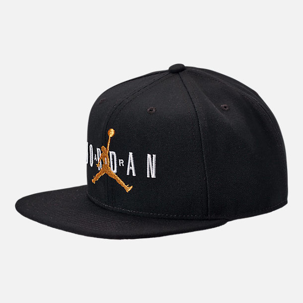 390ae352057 Front view of Jordan Dri-FIT Pro Jumpman Air HBR Snapback Hat in Black