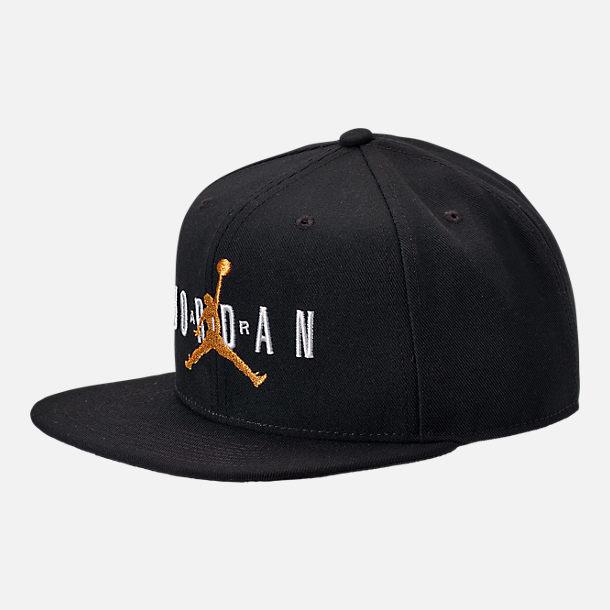 feaab84455c Front view of Jordan Dri-FIT Pro Jumpman Air HBR Snapback Hat in Black/
