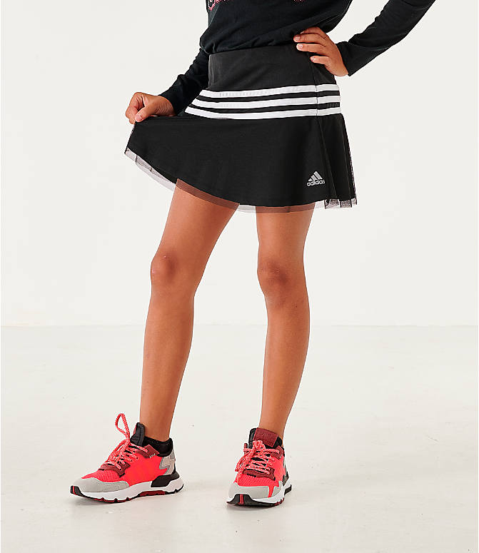 Front view of Girls' adidas Athletics Sport Skort in Black/White