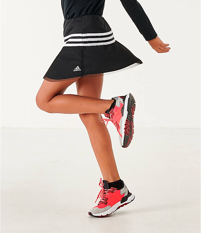 Back Left view of Girls' adidas Athletics Sport Skort in Black/White