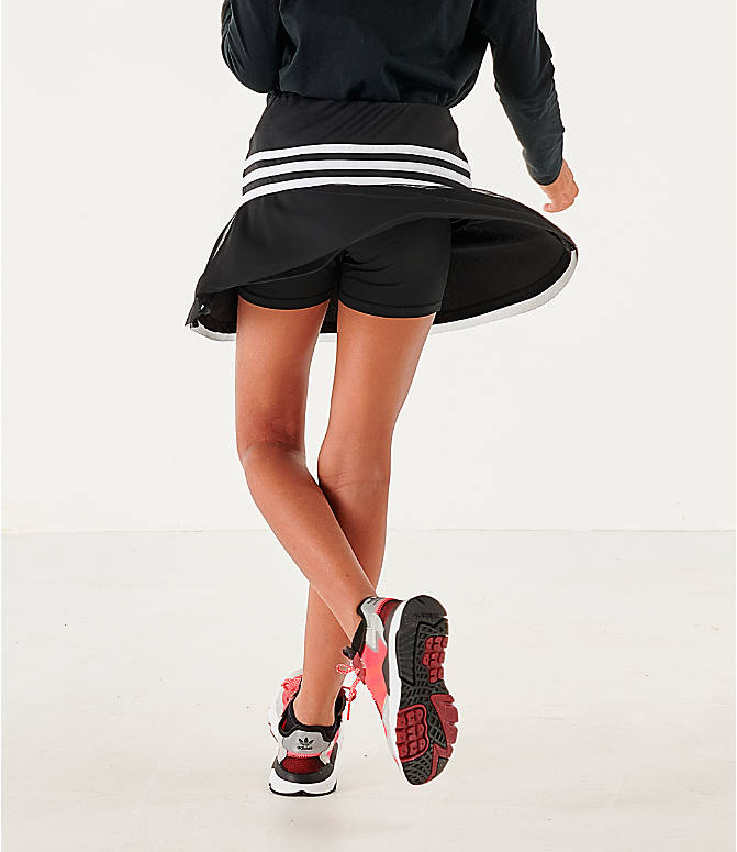 Back Right view of Girls' adidas Athletics Sport Skort in Black/White