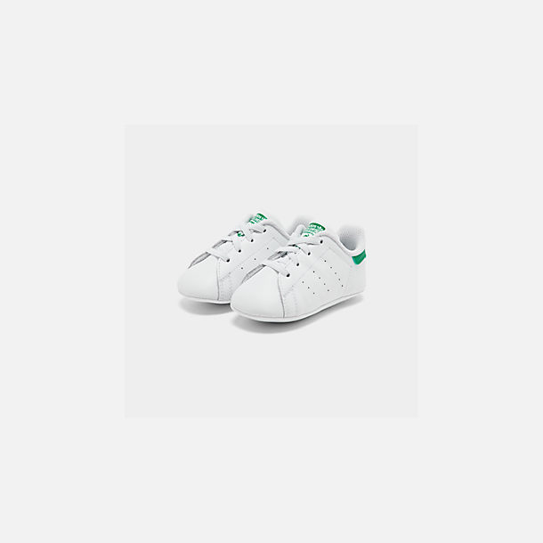 Three Quarter view of Infant adidas Originals Stan Smith Crib Booties in White/Green