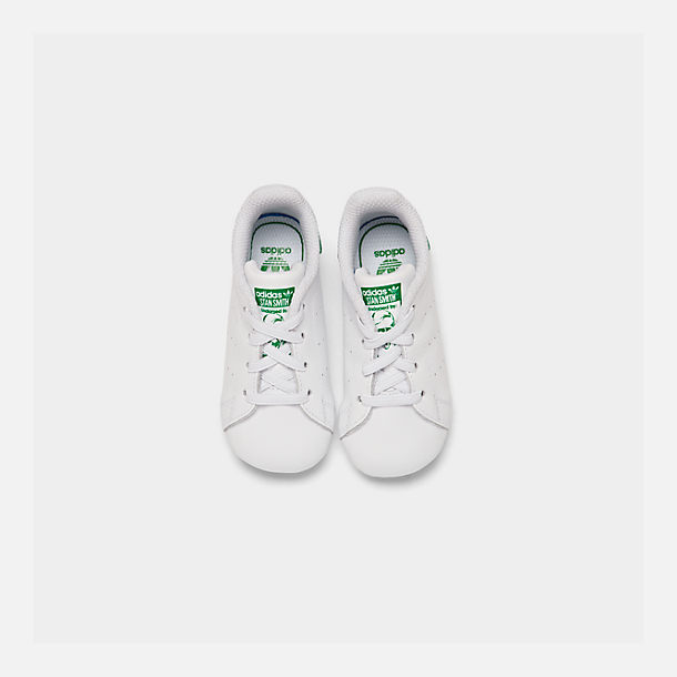 Bottom view of Infant adidas Originals Stan Smith Crib Booties in White/Green