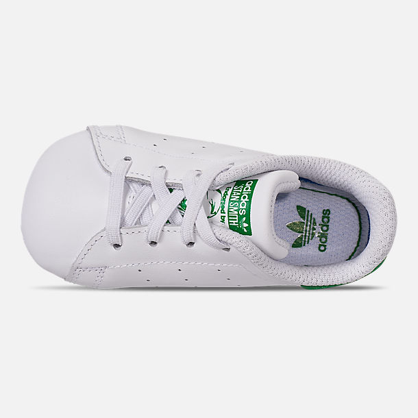 Top view of Infant adidas Originals Stan Smith Crib Booties in White/Green
