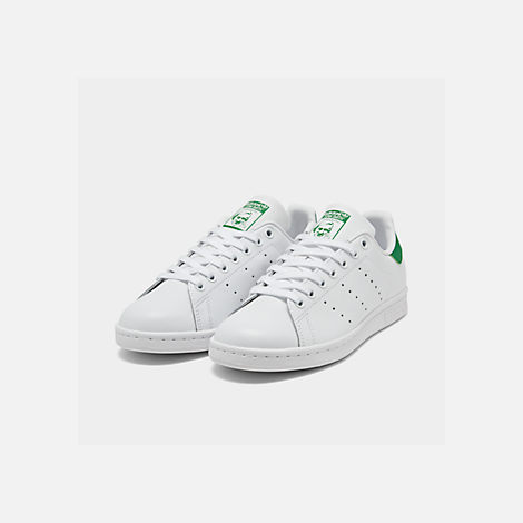 Three Quarter view of Women's adidas Originals Stan Smith Casual Shoes in GRN