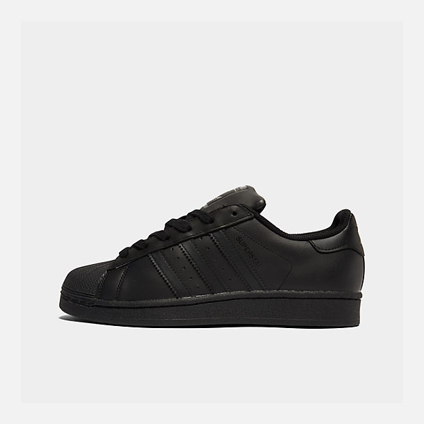 Right view of Big Kids' adidas Superstar Casual Shoes in Black/Black