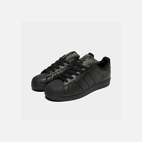 Three Quarter view of Big Kids' adidas Superstar Casual Shoes in Black/Black