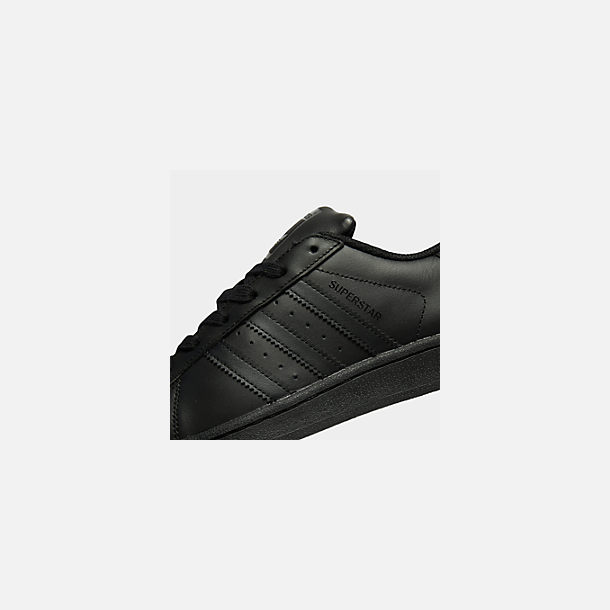 Front view of Big Kids' adidas Superstar Casual Shoes in Black/Black